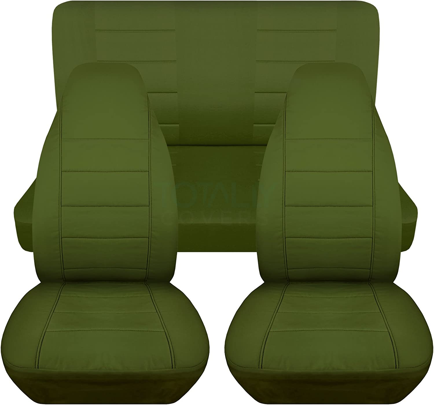 Will Make Fit Any Car//Truck//Van//RV//SUV Full Set 23 Colors Semi-Custom Fit Totally Covers Solid Car Seat Covers: Black