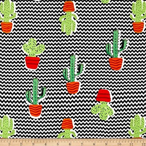 TELIO Picasso Rayon Poplin Cactus Fabric by The Yard, Black/Green