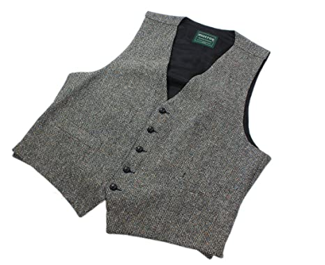 Mucros Grey Men's Full Back Wool Tweed Vest From Ireland at Amazon ...