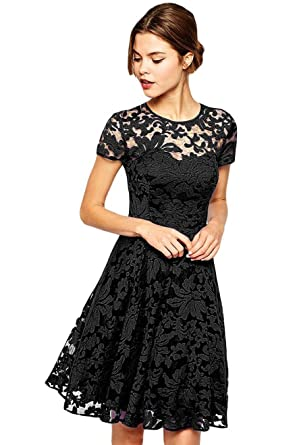 Amazon.com: Amoluv Women Round Neck Short Sleeve Pleated Lace Slim ...