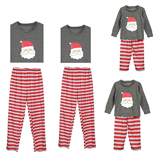 551c36372b Amazon.com  Christmas Family Matching Pajamas Set Men Women Boy Girl Kids Santa  Long Sleeve Blouse +Striped Pants Holiday Pajama PJ Sets  Clothing