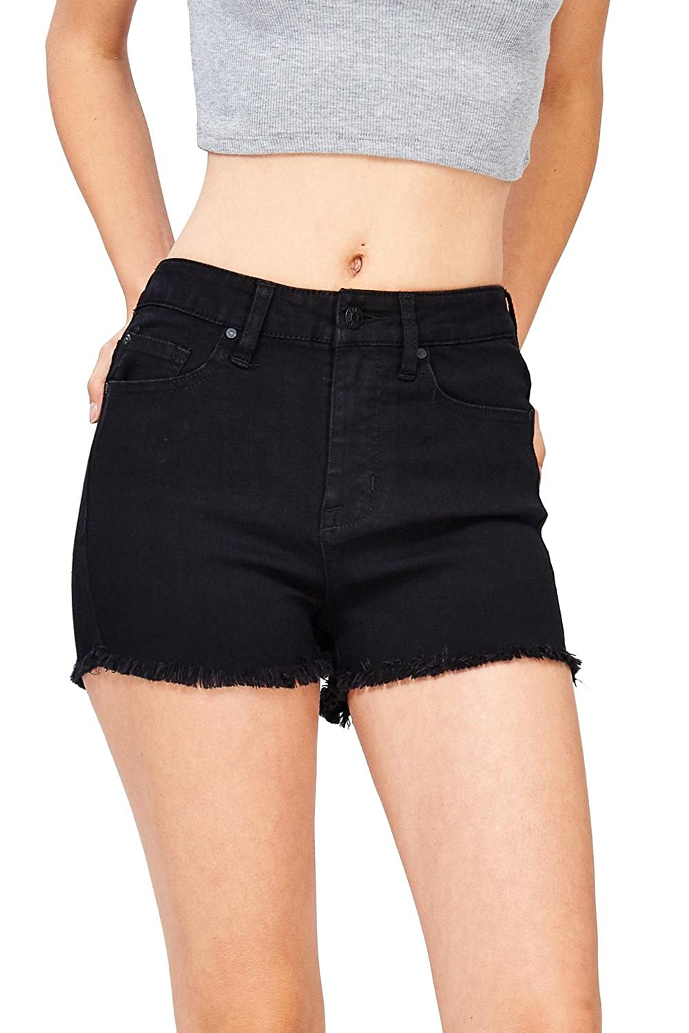Celebrity Pink Women's Juniors High Waist Stretchy Denim Shorts
