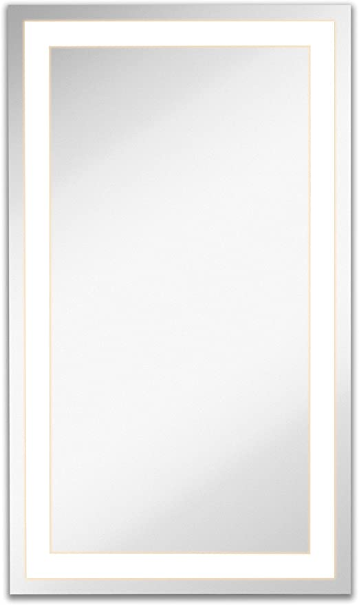 Hamilton Hills Lighted Led Frameless Backlit Wall Mirror Polished Edge Silver Backed Illuminated Frosted Rectangle Commercial Grade Vanity Or Bathroom Hanging Rectangle Vertical Mirror 21 X 36 Kitchen Dining