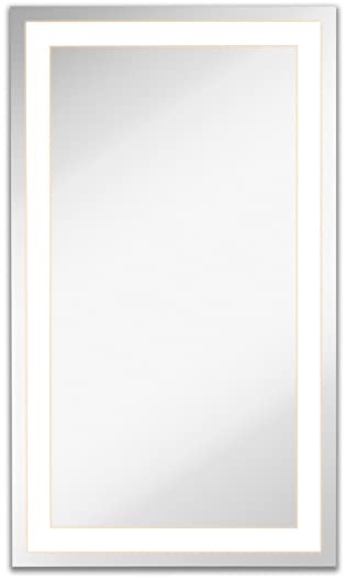 Lighted LED Frameless Backlit Wall Mirror | Polished Edge Silver Backed Illuminated Frosted Rectangle Mirrored Plate | Commercial Grade Vanity or Bathroom Hanging Rectangle Vertical Mirror (21