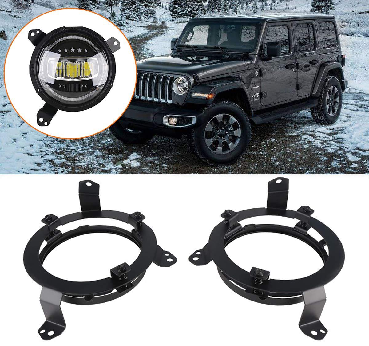 YOCTM 7 Inch Round LED Headlight Mounting Bracket Adjustable for Jeep Wrangler JL 2018 2019 7 LED Headlamp Mount Ring Bezels Black