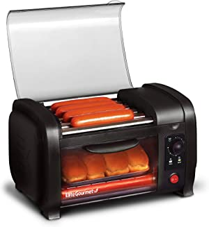 Elite Gourmet EHD-051B Hot Dog Toaster Oven, 30-Min Timer, Stainless Steel Heat Rollers Bake & Crumb Tray, World Series Baseball, 4 Bun Capacity, Black