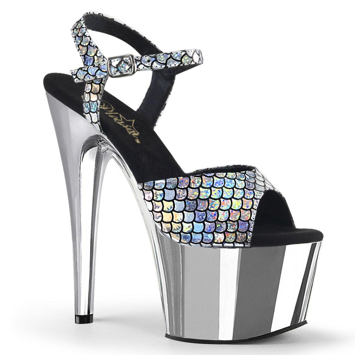 Women's Adore Iridescent Fish Scale Design Ankle-Strap Platform Sandals - DeluxeAdultCostumes.com