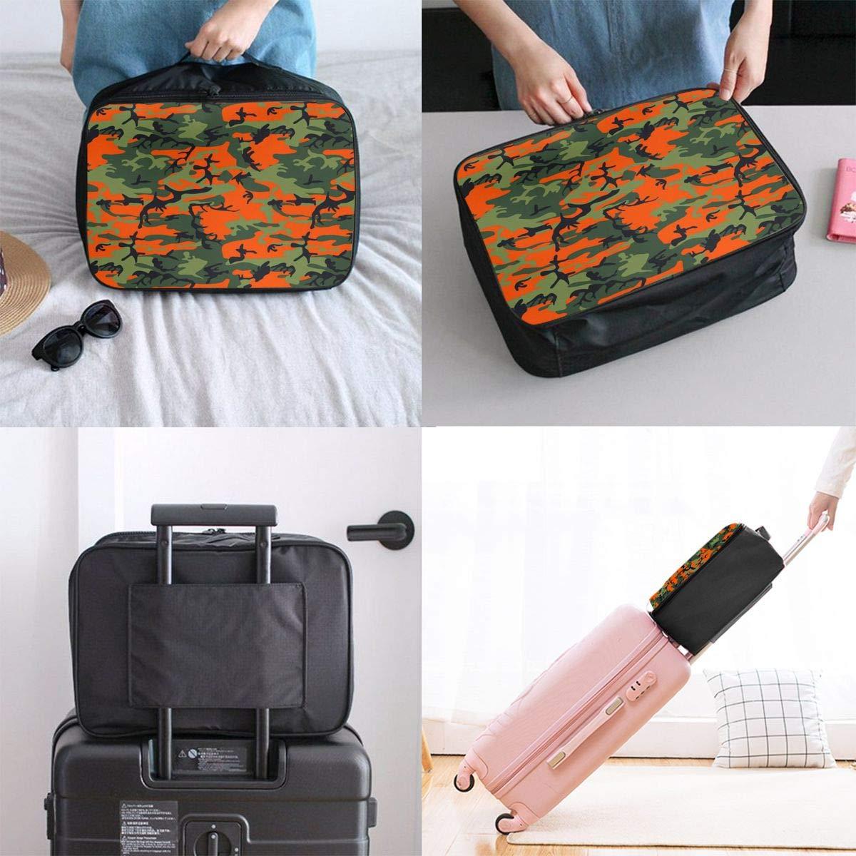 Travel Luggage Duffle Bag Lightweight Portable Handbag Orange Camouflage Print Large Capacity Waterproof Foldable Storage Tote