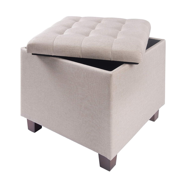 eSituro Taburete Asientos Caja de Almacenamiento con Tapa Puff Cuadrado, Lino Extraíble+MDF Crema SOM0056