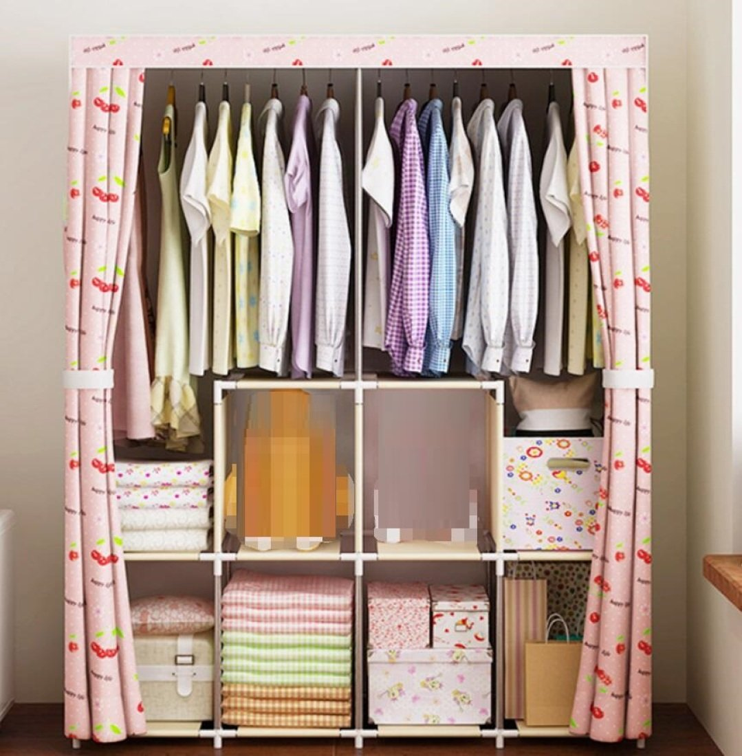 GL&G Simple Cloth wardrobe,Multi-layer Steel Pipe Reinforced Non-woven Clothing & Wardrobe Storage bedroom Apartment Dust cloth Wardrobe Storage Organization,B,48''62''