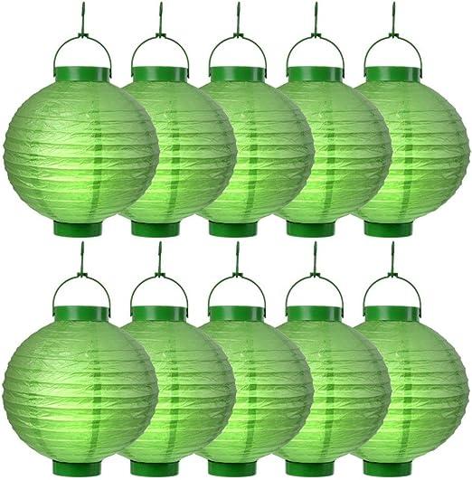 S/o 10 unidades LED farolillos verde Farol farolillo Jardín Balcón Terraza Fiesta iluminación decoración: Amazon.es: Jardín