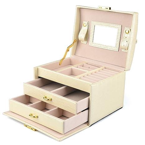 DCCN Jewellery Box Estuche De CosméTicos Caja De Almacenamiento De JoyeríA De Cuero De PU De Tres Capas con Espejo Y Cerradura, Regalo para NiñAs O ...
