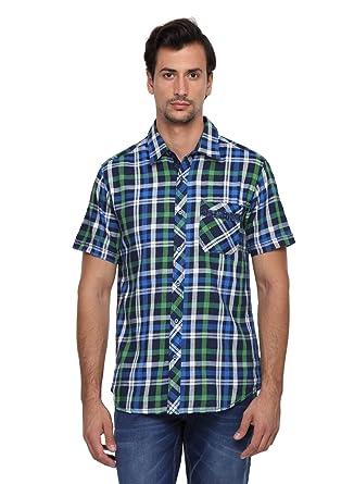 3132eae1b2 Classic Polo 100% Cotton Men's Medium Checks Half Sleeve Slim Fit Casual  Shirt
