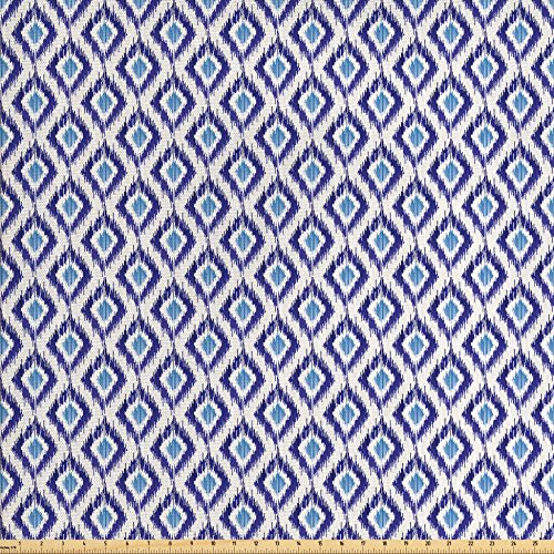 Old Fashioned Fabric (Ambesonne Ikat Fabric by the Yard, Traditional Cultural Asian Pattern Indigenous Old Fashioned Revival, Decorative Fabric for Upholstery and Home Accents, Violet Blue Pale Blue Beige)