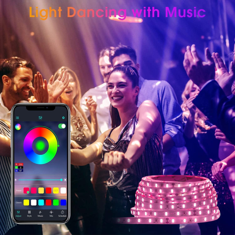 LED Strips 20M HEERTTOGO LED Streifen RGB mit Bluetooth Musikalische LED Lichtband Dynamischer Musikmodus mit Mikrofon APP Steuerung Fernbedienung 23 Tasten16 Millionen Farben Led lichterkette