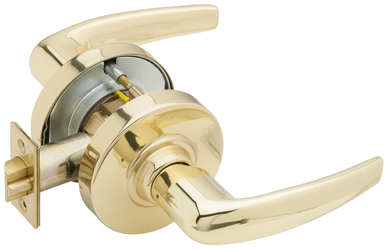 Jupiter Design Bright Brass Finish Schlage AL53PD JUP 605 C123 Keyway Series AL Grade 2 Cylindrical Lock C123 Keyway Entrance Function