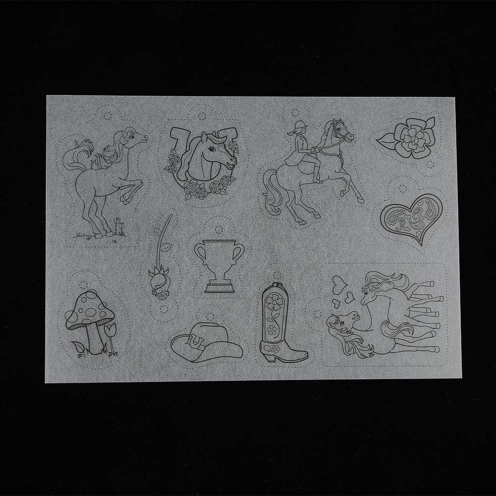 Walfront Heat Shrink Plastic Sheet Kit Shrinkable Film with Pattern for Crafts Bonus Key Chains DIY Handmade Craft Tool Girls Style