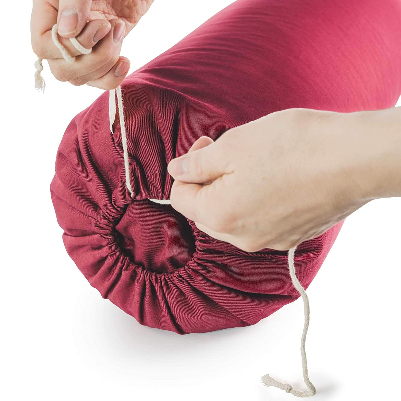 Lotuscrafts Bolster Yoga Rodillo para Yin Yoga Ø24 cm - Relleno de Espelta - Cubierta en Algodon Lavable- Cojin Yoga Rodilla - Rulo Pilates o Yoga - ...