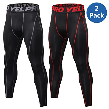 c8b4874bda VEEWOO Men's Compression Pants Baselayer Cool Dry Sports Tights Leggings  for Running,Workout,Training