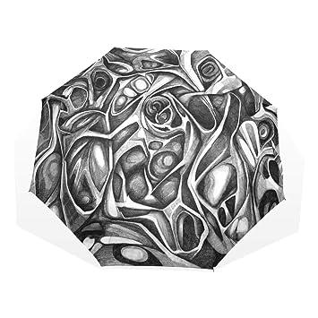 Amazon.com: Paraguas negro y blanco con dibujos plegables ...