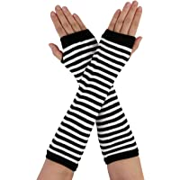 uxcell Lady White Black Stripe Elastic Winter Fingerless Arm Hand Wrist Warmer Long Writing Gloves Pair
