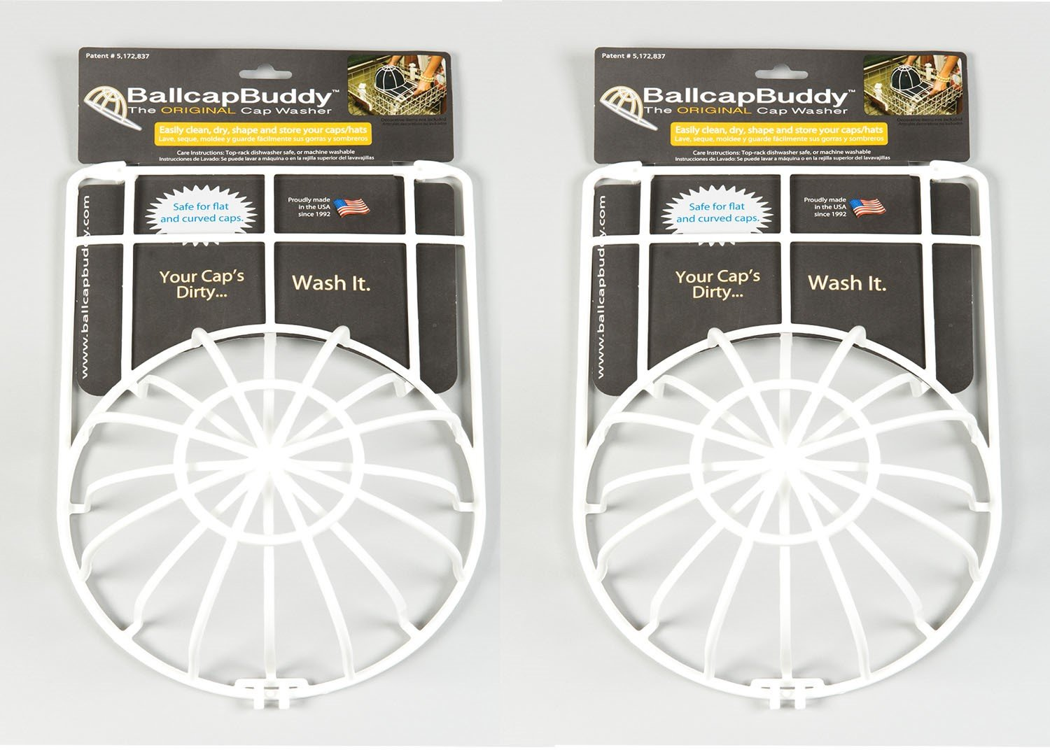 Ballcap Buddy Cap Washer-Hat Washer-Baseball cap cleaner 2-pack white. Endorsed by SHARK TANK and As Seen on TV PRO by BallcapBuddy