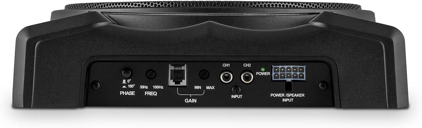200W Potencia m/áx, Amplificador Integrado, Mando a Distancia con Cable, Conexiones 12V auna Silverseat 10 Subwoofer Activo para Coche 25cm 10