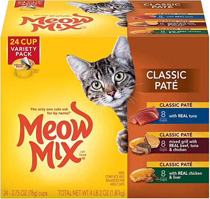 Meow Mix Classic Paté Wet Cat Food, Variety Pack, 2.75 Ounce Cup (Pack of 24)