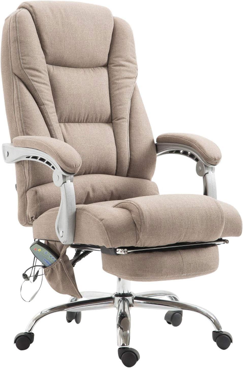 Fauteuil de Bureau Pacific Tissu avec Fonction de Massage I Chaise de Bureau à Roulette Réglable en Hauteur I Fauteuil Ergonomique avec Repo, Couleurs:crème Taupe