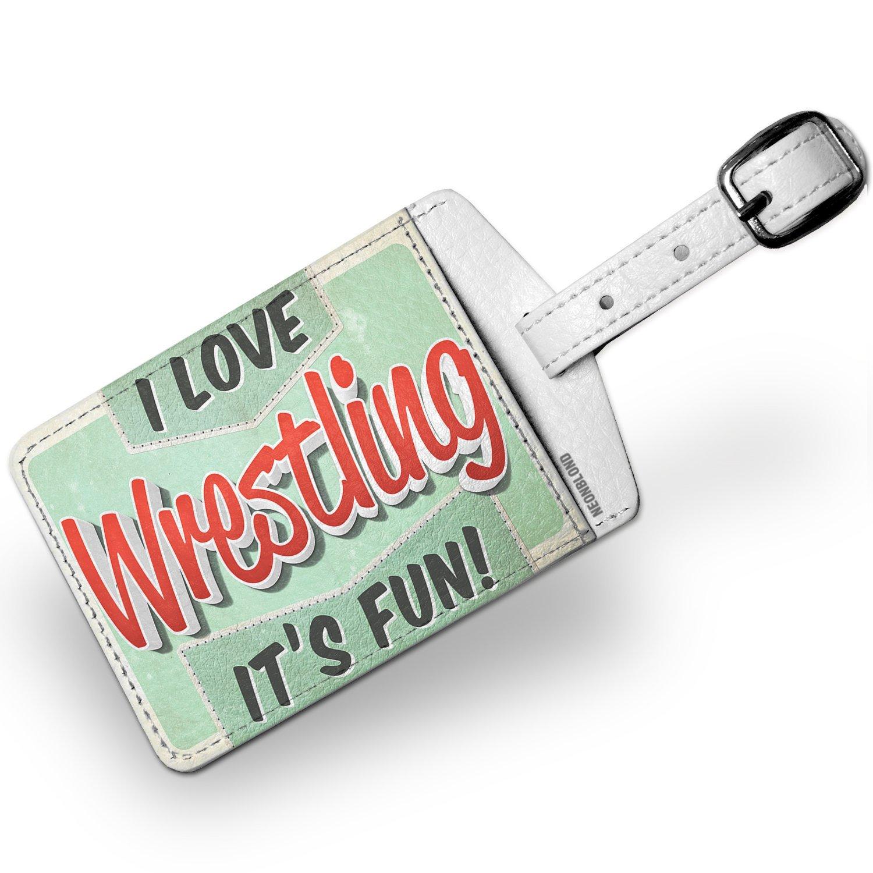 Luggage Tag I Love Wrestling, Vintage design - NEONBLOND