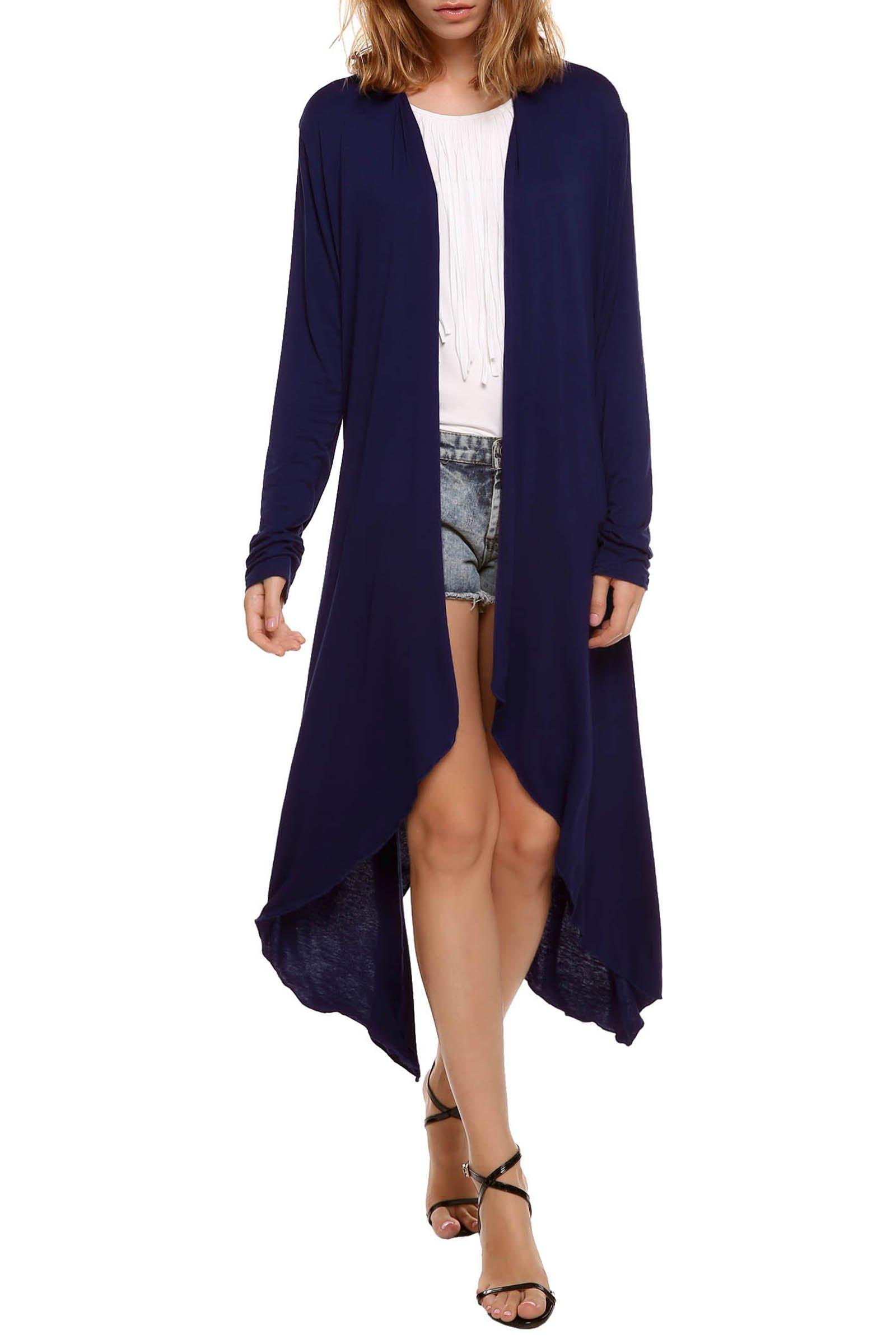 Beyove Women's Long Sleeve Asymmetric Hem Open Front Draped Cardigan Sweater Navy Blue M