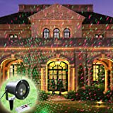 GAXmi Landscape Flood Lighting Waterproof Spotlights Remote Control Starry Red-Green Firefly Flash Spots Pattern Outdoor Decking Light for Garden Yard Lawn Christmas Holiday (UK Plug)