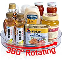 Lazy Susan Turntable Cabinet Organizer, 10.6 Inch Clear Lazy Susan Spice Rack, Plastic Rotating Organizer for Kitchen…