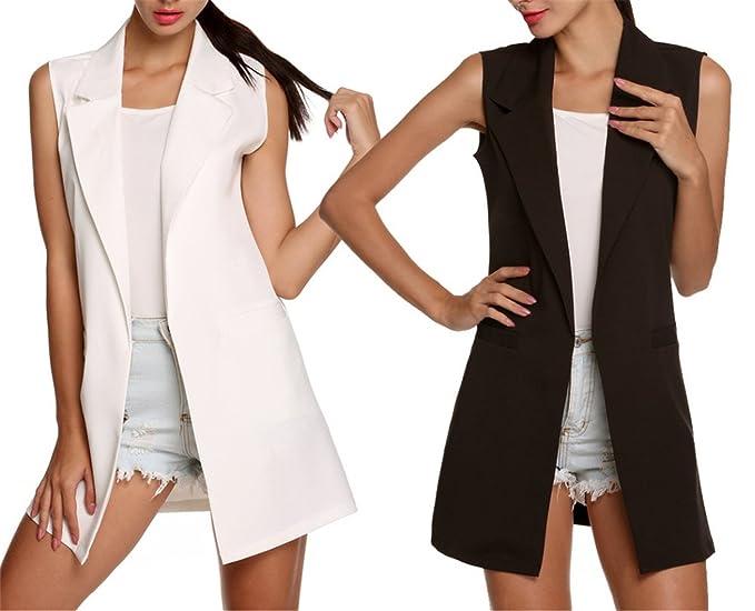 Amazon.com: hoared Casual Chaleco para mujer larga chaqueta ...