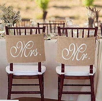 B G Mr. U0026 Mrs Burlap Chair Banner Set Bride U0026 Groom Chair Signs For Wedding