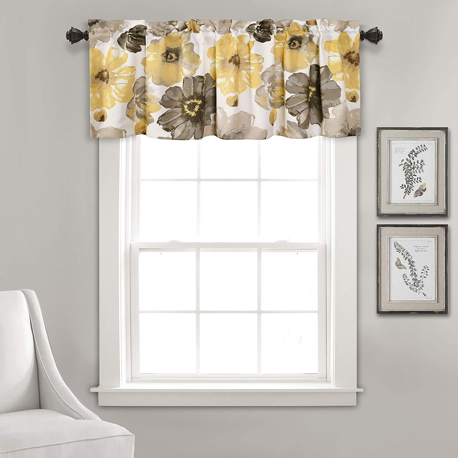 "Lush Decor Leah Floral Window Curtain Valance, 18"" x 52"", Yellow and Gray"