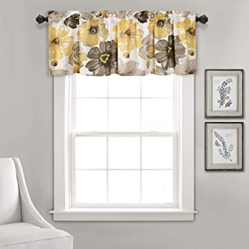 """Lush Decor Leah Floral Window Curtain Valance, 18"""" x 52"""", Yellow and Gray"""
