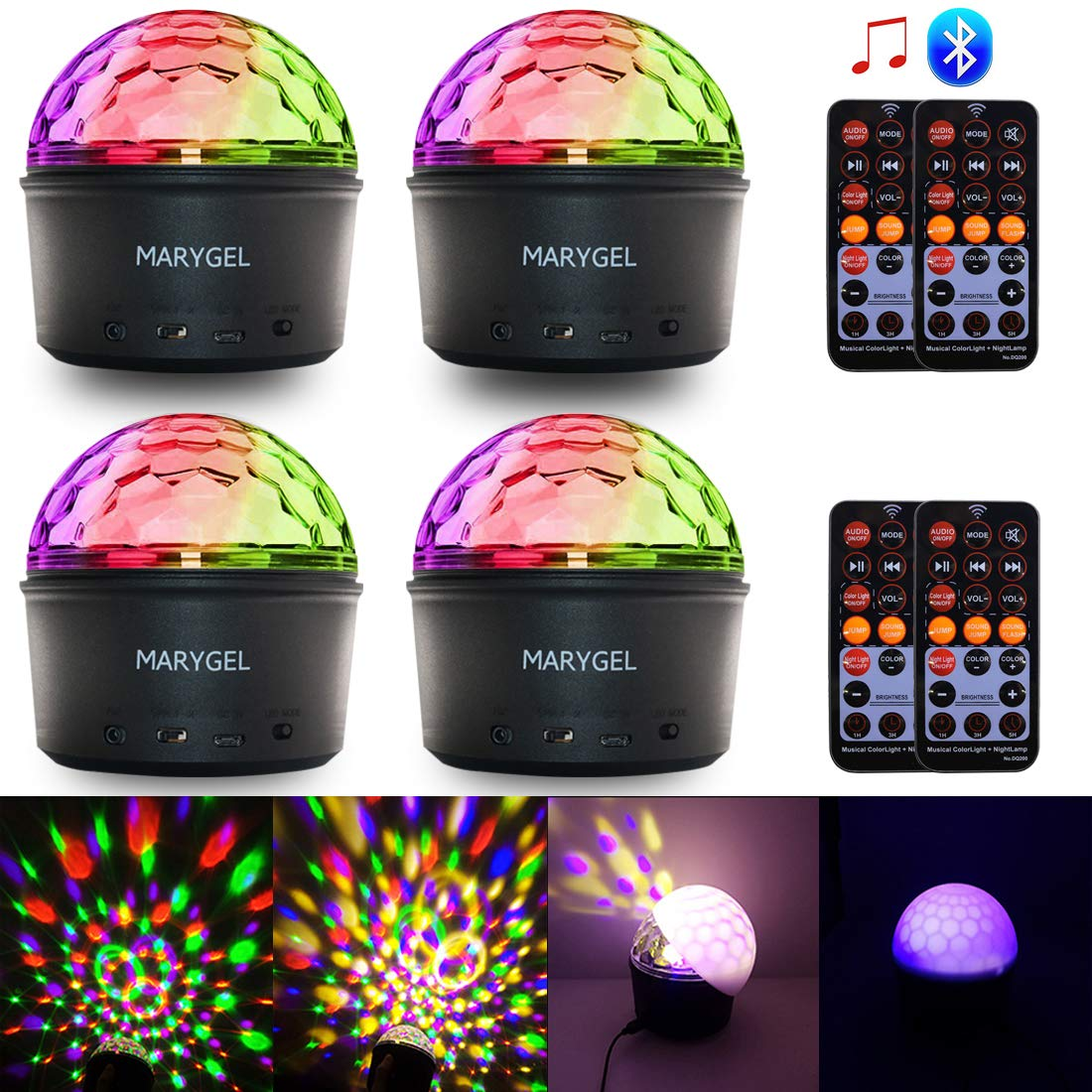 Stage Lights,MARYGEL Sound Activated Rotating Crystal LED Strobe Lights Night Light Party Lights With Wireless Bluetooth Speaker for Outdoor Bar Club Birthday Christmas Kids Gift (With Remote)
