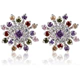 Yazilind Dazzling Rhodium Plated Colorful Round Cut Flawless Cubic Zirconia Snowflake Stud Earrings