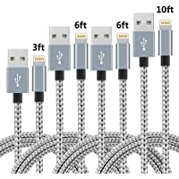 4-Pack SPEATE Braided Nylon Lightning Charger Cable (3ft 6ft 6ft 10ft)