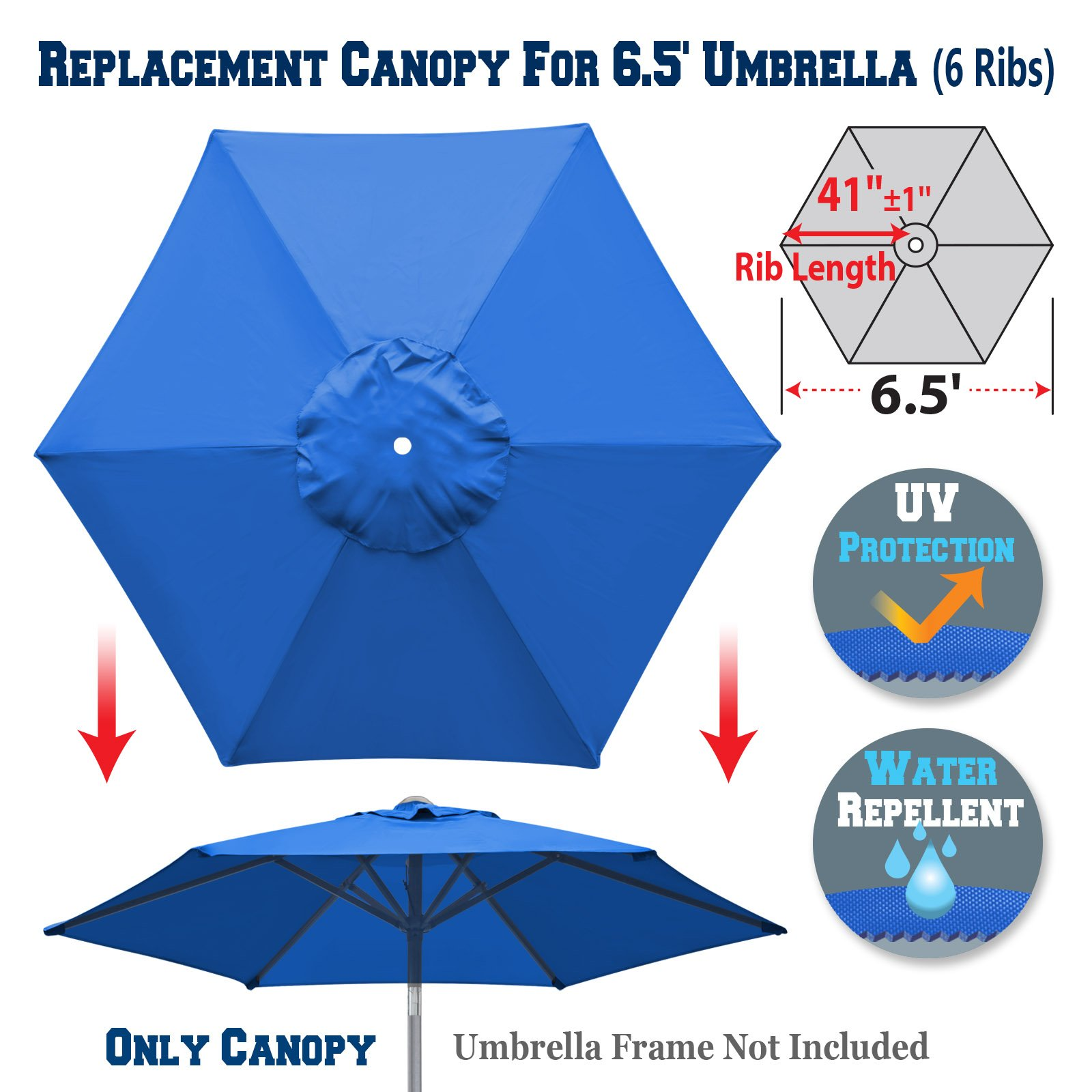 BenefitUSA Replacement Umbrella Canopy Cover for 6.5ft 6 Ribs Patio Market Umbrella (CANOPY ONLY) (Blue) by BenefitUSA