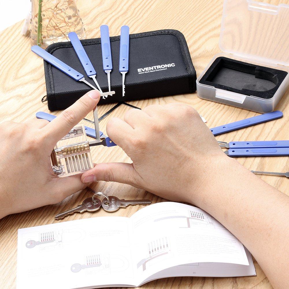eventronic lock pick set 17 piece case padlock picking. Black Bedroom Furniture Sets. Home Design Ideas