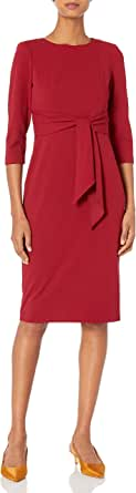 Adrianna Papell Womens AP1D103175 Bow Sheath Dress with Three Quarter Sleeves