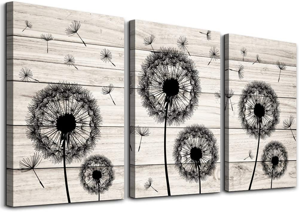 Wall Decor For Living Room Canvas Wall Art For Bedroom Fashion Wall Decorations For Kitchen Abstract Paintings Office Canvas Art Black Dandelion Flowers Hang Pictures Artwork Home Decoration 3 Pieces