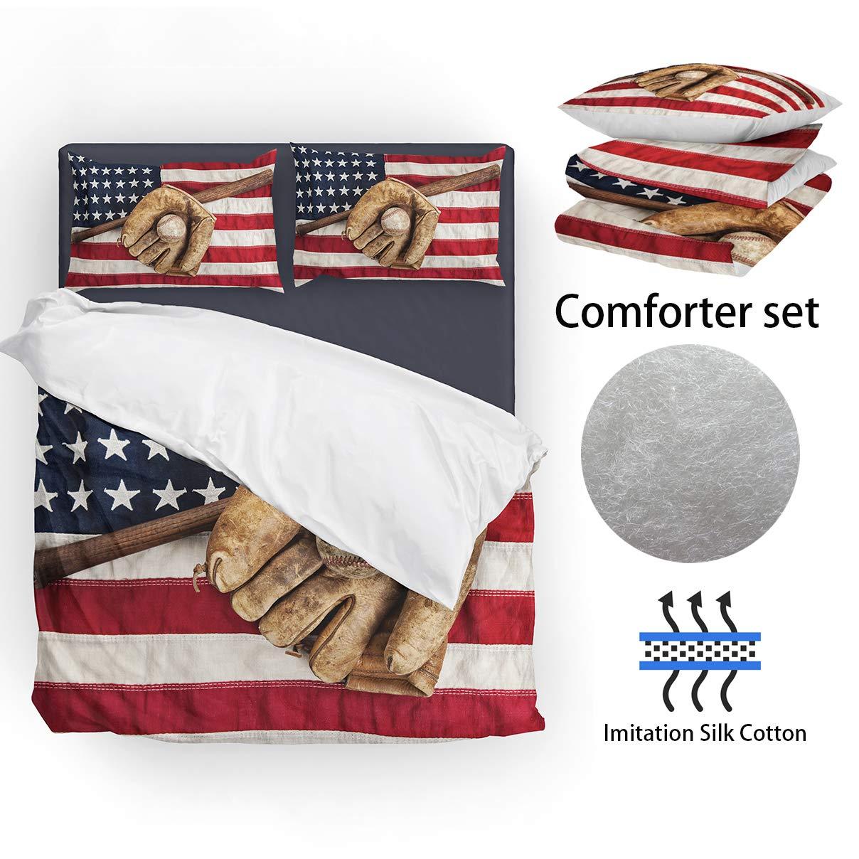 SHINICHISTAR American Flag Baseball Comforter Set for Teens Full Size Sports BOY Bedding Set