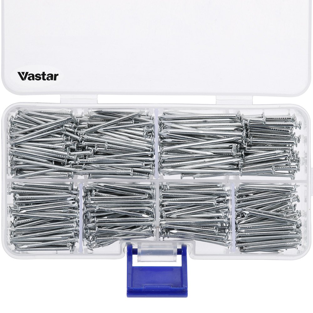 Vastar 600 Pieces Hardware Nails and Brad Nails Assortment 7 Different Sizes