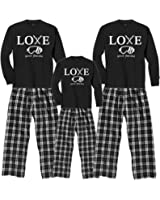 Love Your Family Ski Trip Winter Pajamas Adult Sizes; Matching Playwear for Kids