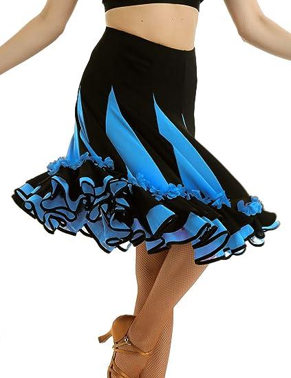 ranrann Falda de Baile Flamenco para Mujer Falda de Danza Tango ...