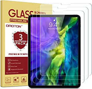 OMOTON [3-Pack] Screen Protector for iPad Pro 11 2020 2018 (1st and 2nd Generation) [Work with Face ID & Apple Pencil] - Tempered Glass/High Definition / 9H Hardness