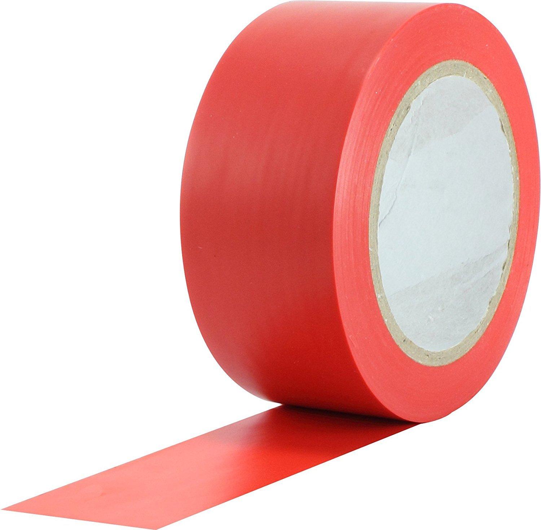 WINGONEER 36 Yards General Purpose Vinyl Tape Color Coding Pack Floor Marking Tape - Red